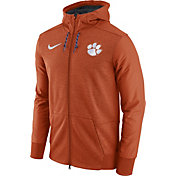Nike Men's Clemson Tigers Heathered Orange Football Travel Full-Zip Hoodie