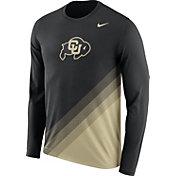 Nike Men's Colorado Buffaloes Black/Gold Football Sideline Dri-FIT Long Sleeve Shirt