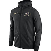 Nike Men's Colorado Buffaloes Football Travel Heathered Black Full-Zip Hoodie
