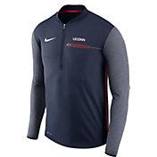 Nike Men's UConn Huskies Blue Coach Half-Zip Football Sideline Jacket
