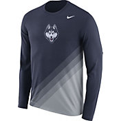 Nike Men's UConn Huskies Blue/Grey Football Sideline Dri-FIT Long Sleeve Shirt