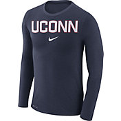 Nike Men's UConn Huskies Blue Marled Dri-FIT Long Sleeve Shirt
