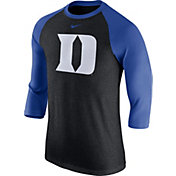 Nike Men's Duke Blue Devils Black Tri-Blend Three-Quarter Sleeve Baseball T-Shirt