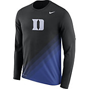 Nike Men's Duke Blue Devils Black/Duke Blue Football Sideline Dri-FIT Long Sleeve Shirt