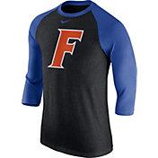 Nike Men's Florida Gators Black Tri-Blend Three-Quarter Sleeve Baseball T-Shirt