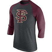Nike Men's Florida State Seminoles Grey/Garnet Baseball Tri-Blend Logo Raglan Shirt