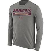 Nike Men's Florida State Seminoles Grey Football Sideline Staff Legend Long Sleeve Shirt