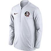 Nike Men's Florida State Seminoles Lockdown Sideline White Half-Zip Jacket