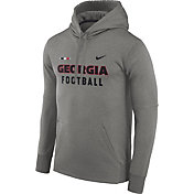 Nike Men's Georgia Bulldogs Grey Football Sideline Therma-FIT Hoodie
