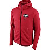 Nike Men's Georgia Bulldogs Red Therma-FIT Full-Zip Elite Basketball Hoodie