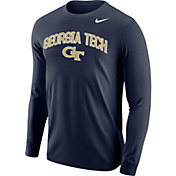 Nike Men's Georgia Tech Yellow Jackets Navy Arched Name Long Sleeve Shirt