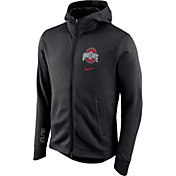 Nike Men's Ohio State Buckeyes Black Therma-FIT Full-Zip Elite Basketball Hoodie