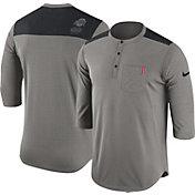 Nike Men's Ohio State Buckeyes Gray Dri-FIT Henley Shirt