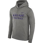 Nike Men's Kansas State Wildcats Grey Football Sideline Therma-FIT Hoodie