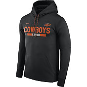 Nike Men's Oklahoma State Cowboys Football Sideline Pullover Black Therma-FIT Hoodie