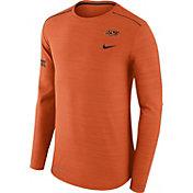 Nike Men's Oklahoma State Cowboys Heathered Orange Player Football Sideline Long Sleeve Shirt