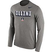 Nike Men's Illinois Fighting Illini Grey Dri-FIT Franchise Long Sleeve T-Shirt