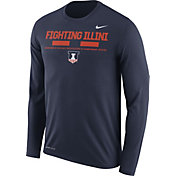 Nike Men's Illinois Fighting Illini Blue Football Sideline Staff Legend Long Sleeve Shirt