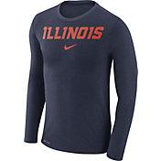 Nike Men's Illinois Fighting Illini Blue Marled Dri-FIT Long Sleeve Shirt