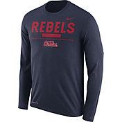 Nike Men's Ole Miss Rebels Blue Football Sideline Staff Legend Long Sleeve Shirt