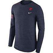 Nike Men's Ole Miss Rebels Heathered Blue Player Football Sideline Long Sleeve Shirt