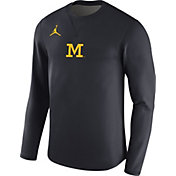 Jordan Men's Michigan Wolverines Blue Coaches Modern Football Sideline Crew Shirt