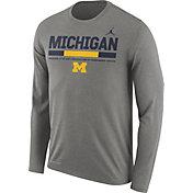 Jordan Men's Michigan Wolverines Grey Football Sideline Staff Legend Long Sleeve Shirt