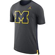 Jordan Men's Michigan Wolverines Anthracite Travel Meshback Dri-FIT Football T-Shirt