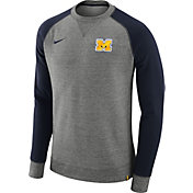 Nike Men's Michigan Wolverines Grey/Blue AW77 Pullover Crew Sweatshirt