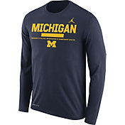 Jordan Men's Michigan Wolverines Blue Football Sideline Staff Legend Long Sleeve Shirt