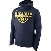 Jordan Men's Michigan Wolverines Blue Basketball Performance Elite Hoodie