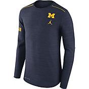 Jordan Men's Michigan Wolverines Heathered Blue Player Football Sideline Long Sleeve Shirt