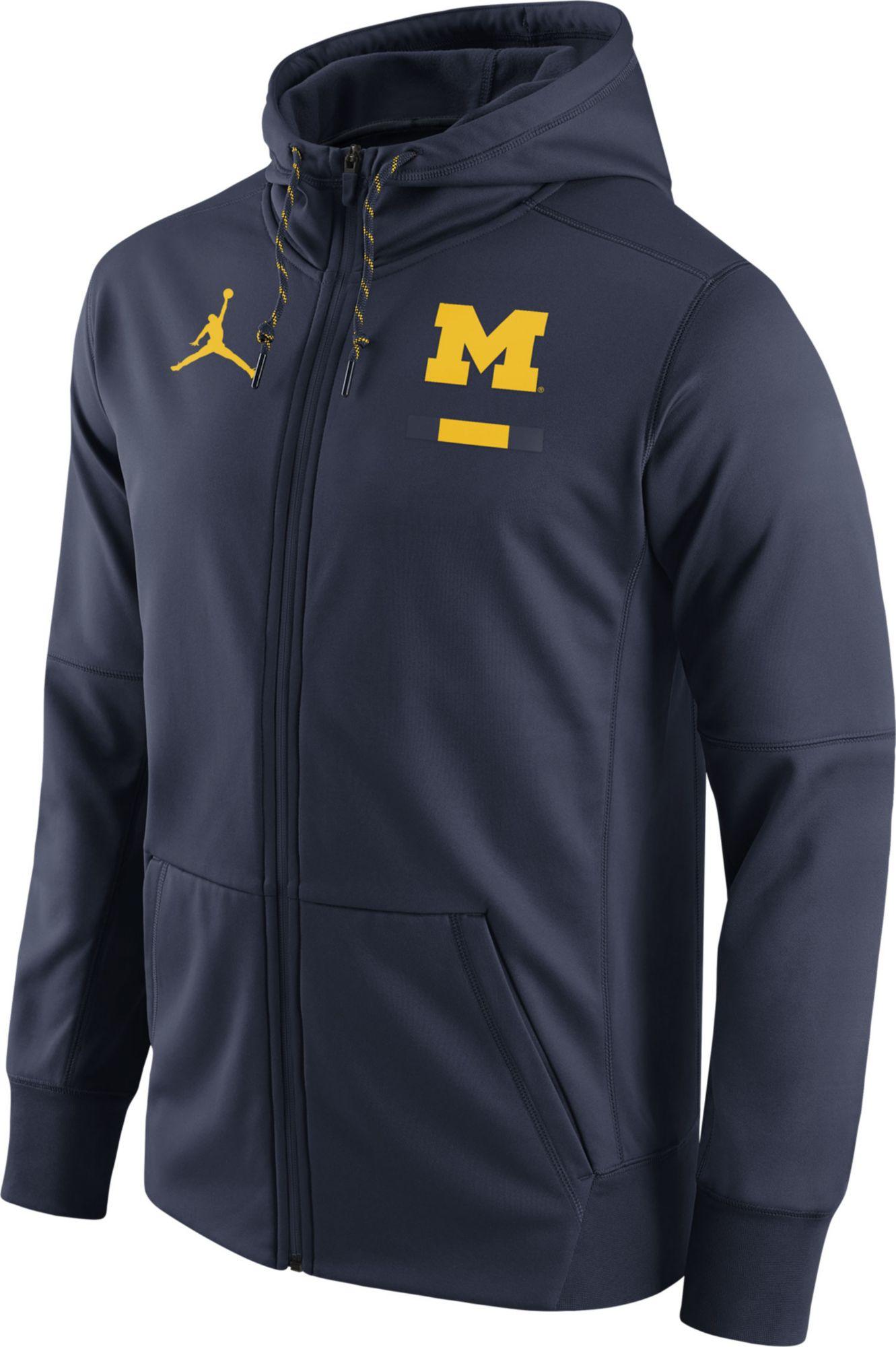 Product Image · Jordan Men's Michigan Wolverines Blue Therma-FIT Full-Zip  Football Hoodie