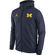 Jordan Men's Michigan Wolverines Heathered Blue Football Travel Full-Zip Hoodie