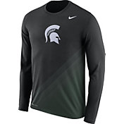 Nike Men's Michigan State Spartans Black/Green Football Sideline Dri-FIT Long Sleeve Shirt