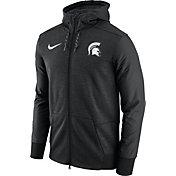 Nike Men's Michigan State Spartans Football Travel Heathered Black Full-Zip Hoodie