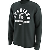 Nike Men's Michigan State Spartans Green Basketball Logo Long Sleeve Shirt