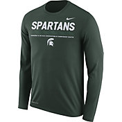 Nike Men's Michigan State Spartans Green Football Sideline Staff Legend Long Sleeve Shirt