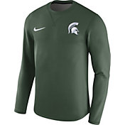 Nike Men's Michigan State Spartans Green Modern Football Sideline Crew Long Sleeve Shirt