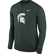 Nike Men's Michigan State Spartans Green Therma-FIT Crew Football Sideline Sweatshirt