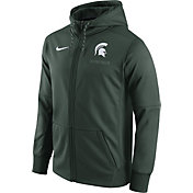 Nike Men's Michigan State Spartans Green Therma-FIT Full-Zip Football Hoodie
