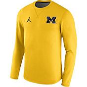 Jordan Men's Michigan Wolverines Maize Modern Football Sideline Crew Long Sleeve Shirt