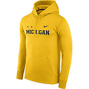 Nike Men's Michigan Wolverines Maize Football Sideline Therma-FIT Hoodie