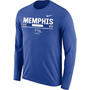 Nike Men's Memphis Tigers Blue Football Sideline Staff Legend Long Sleeve Shirt