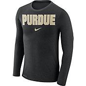 Nike Men's Purdue Boilermakers Black Marled Dri-FIT Long Sleeve Shirt