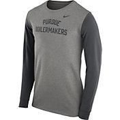 Nike Men's Purdue Boilermakers Grey Heavyweight Elevated Essentials Long Sleeve Shirt