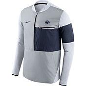 Nike Men's Penn State Nittany Lions Grey/Blue Shield Hybrid Football Sideline Jacket