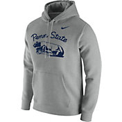 Nike Men's Penn State Nittany Lions Grey Throwback Fleece Hoodie