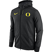 Nike Men's Oregon Ducks Football Travel Heathered Black Full-Zip Hoodie