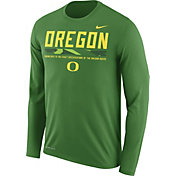Nike Men's Oregon Ducks Apple Green Football Sideline Staff Legend Long Sleeve Shirt